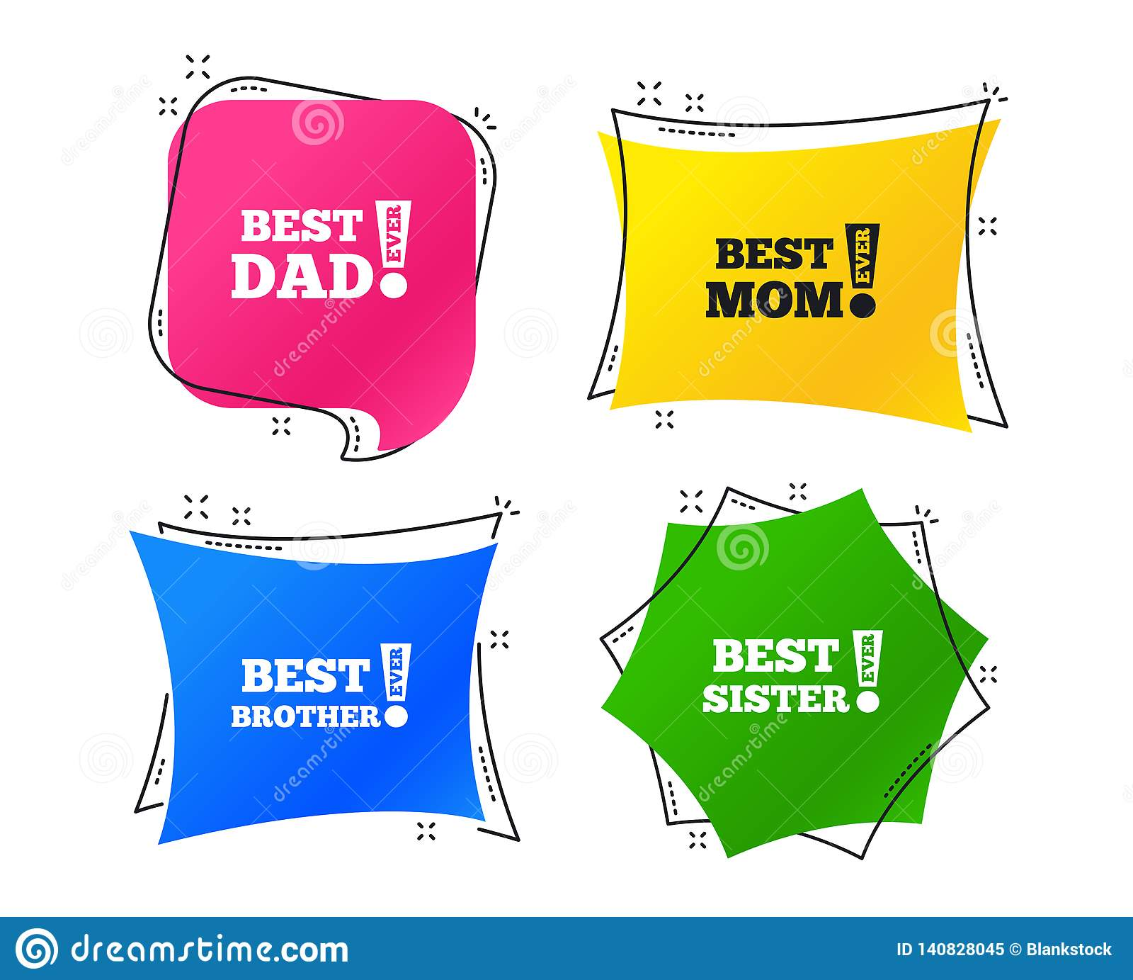 Best mom and dad, brother, sister icons. Vector