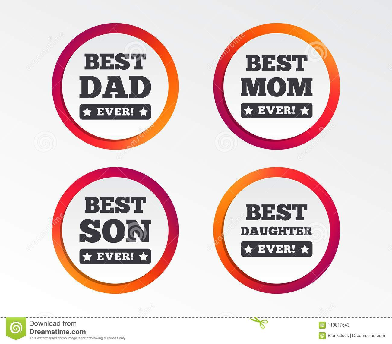 Best Mom And Dad Son Daughter Icons Stock Vector Illustration