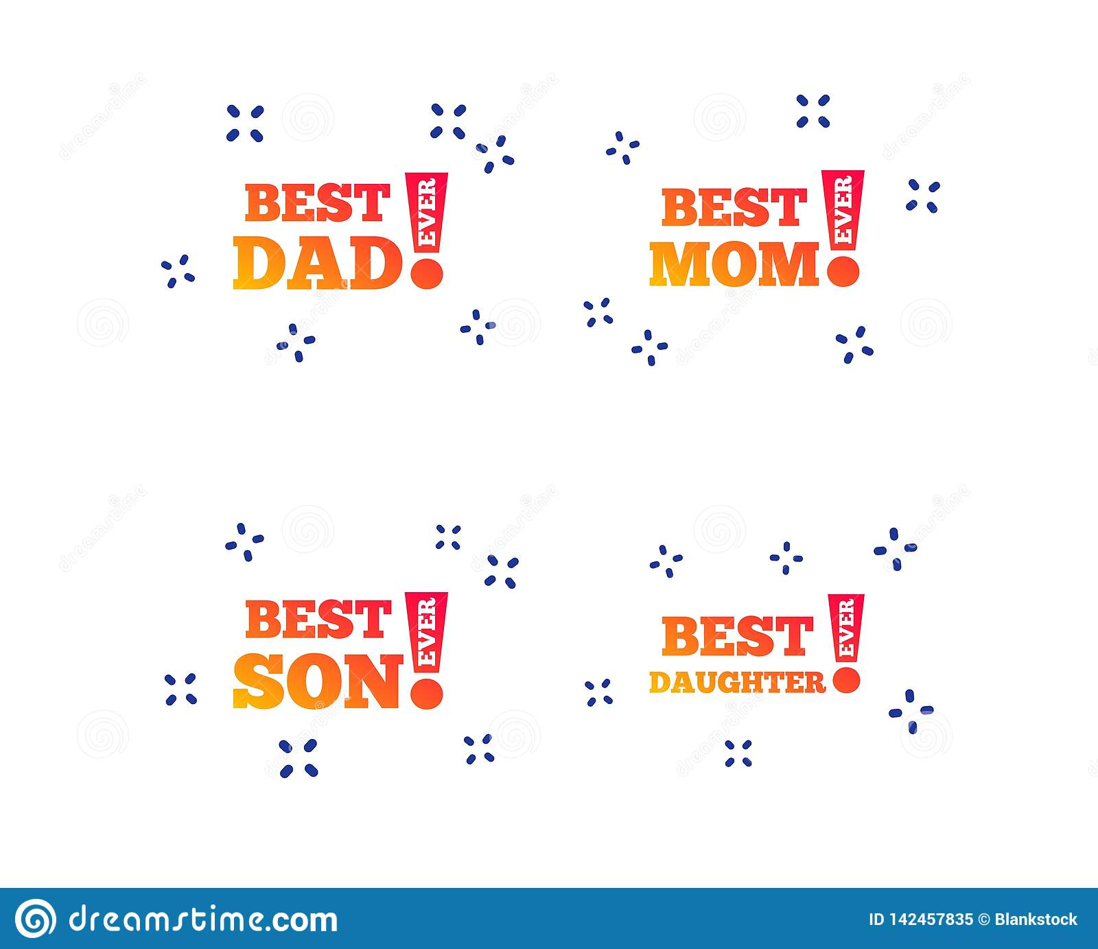 Best mom and dad, son, daughter icons. Vector