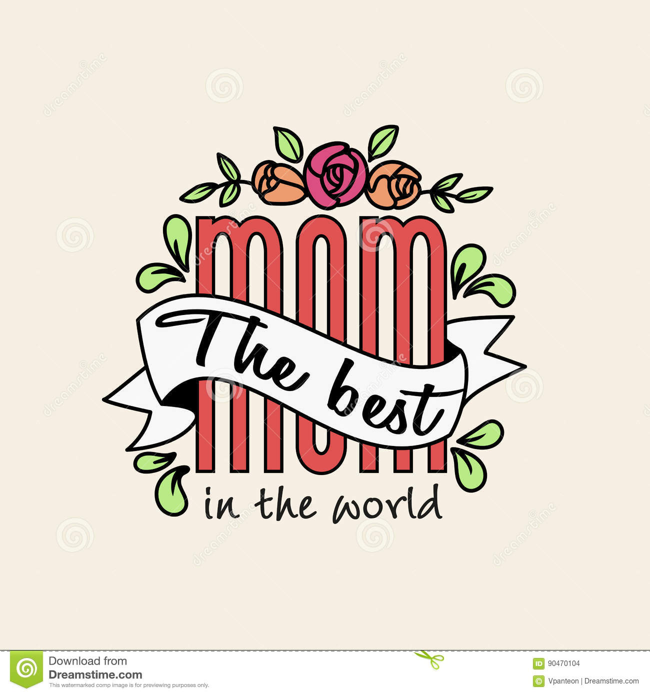 The best mom in the world letters with vintage ribbon and flower the best mom in the world letters with vintage ribbon and flower kristyandbryce Gallery