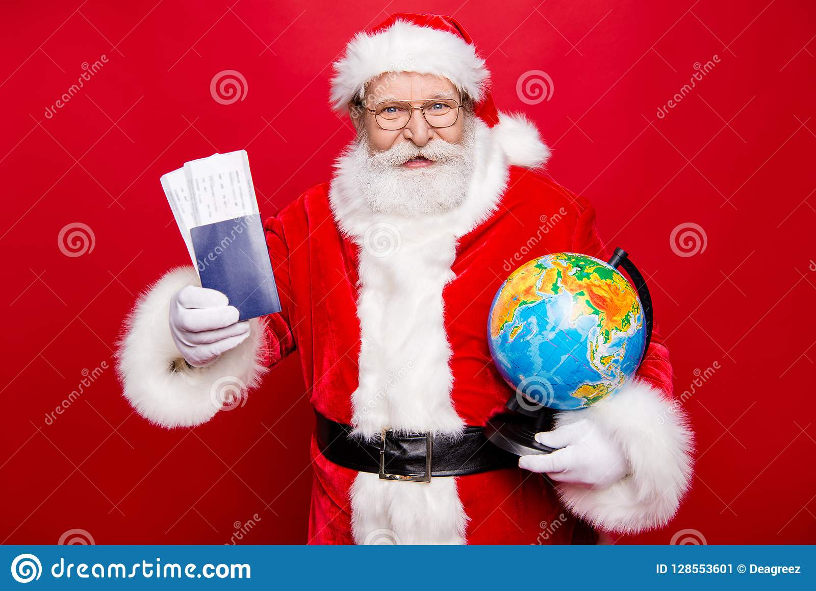 Best Newyear Present Mature Aged Santa In Spectacles With White