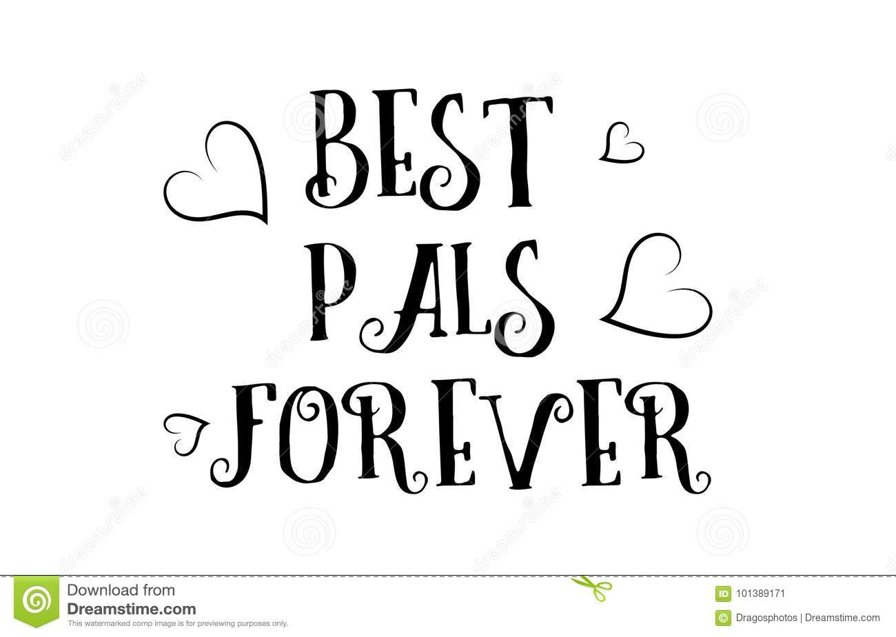 Best Pals Forever Love Quote Logo Greeting Card Poster Design Stock