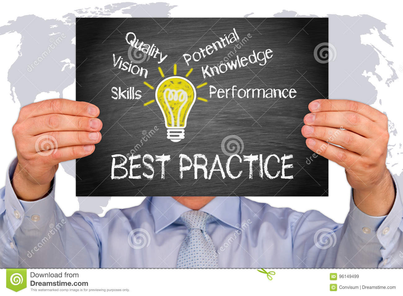 Best Practice - Manager holding sign with light bulb and text