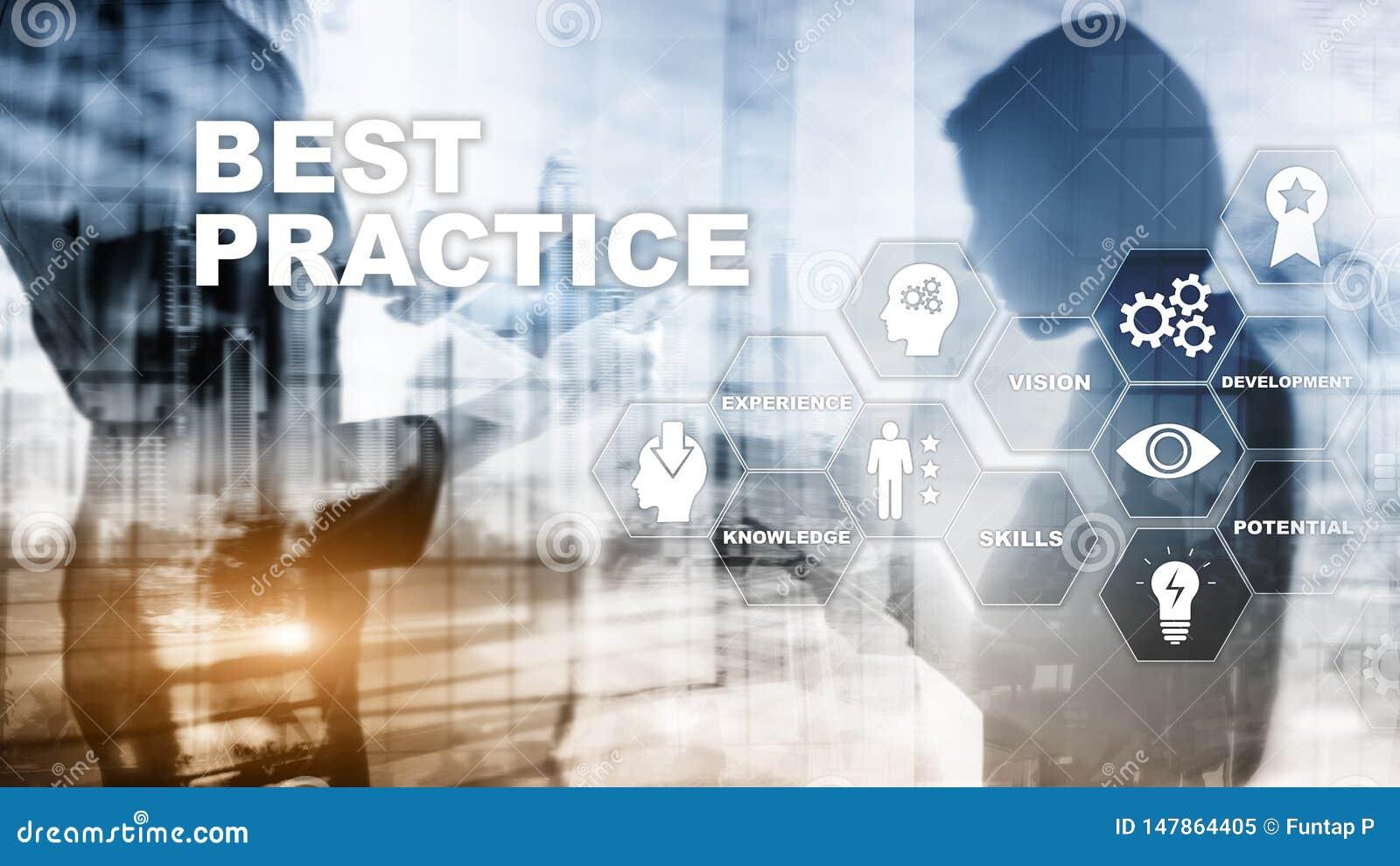 Best practice op het virtuele scherm Bedrijfs, Technologie, van Internet en van het netwerk concept