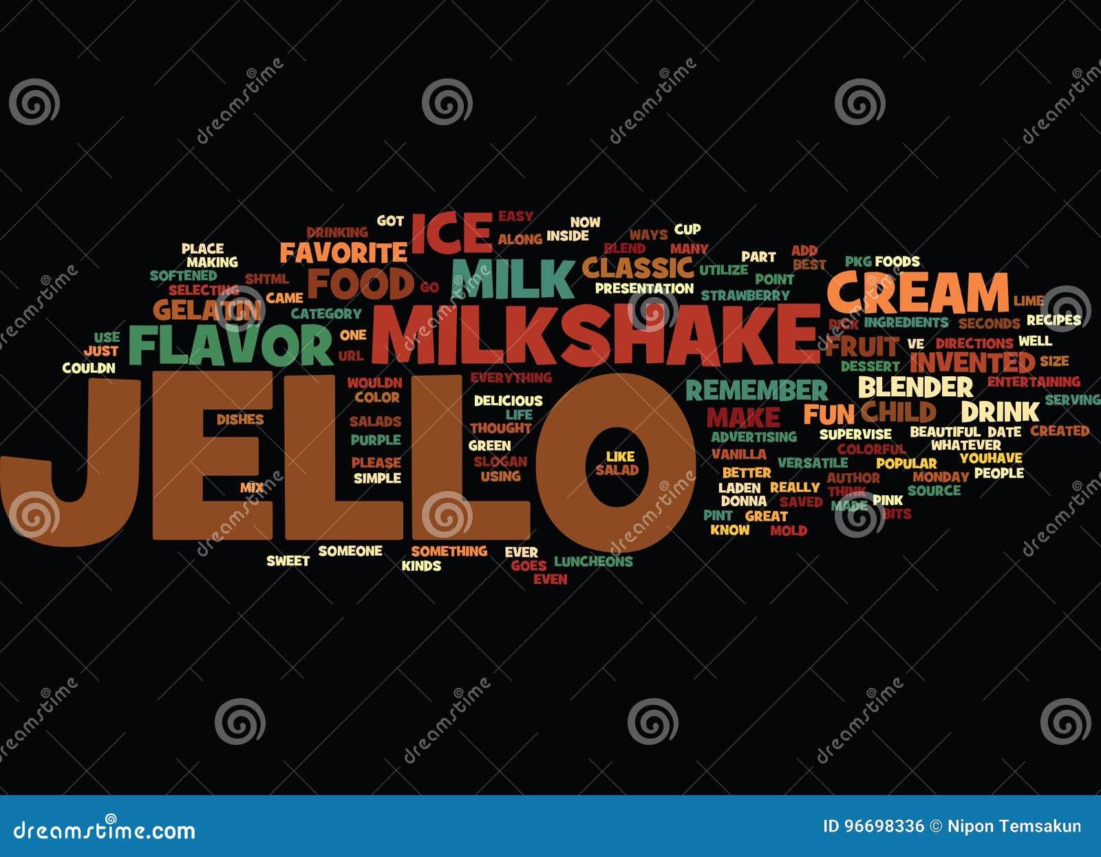 Best Recipes Classic Jello Milkshake Word Cloud Concept Stock