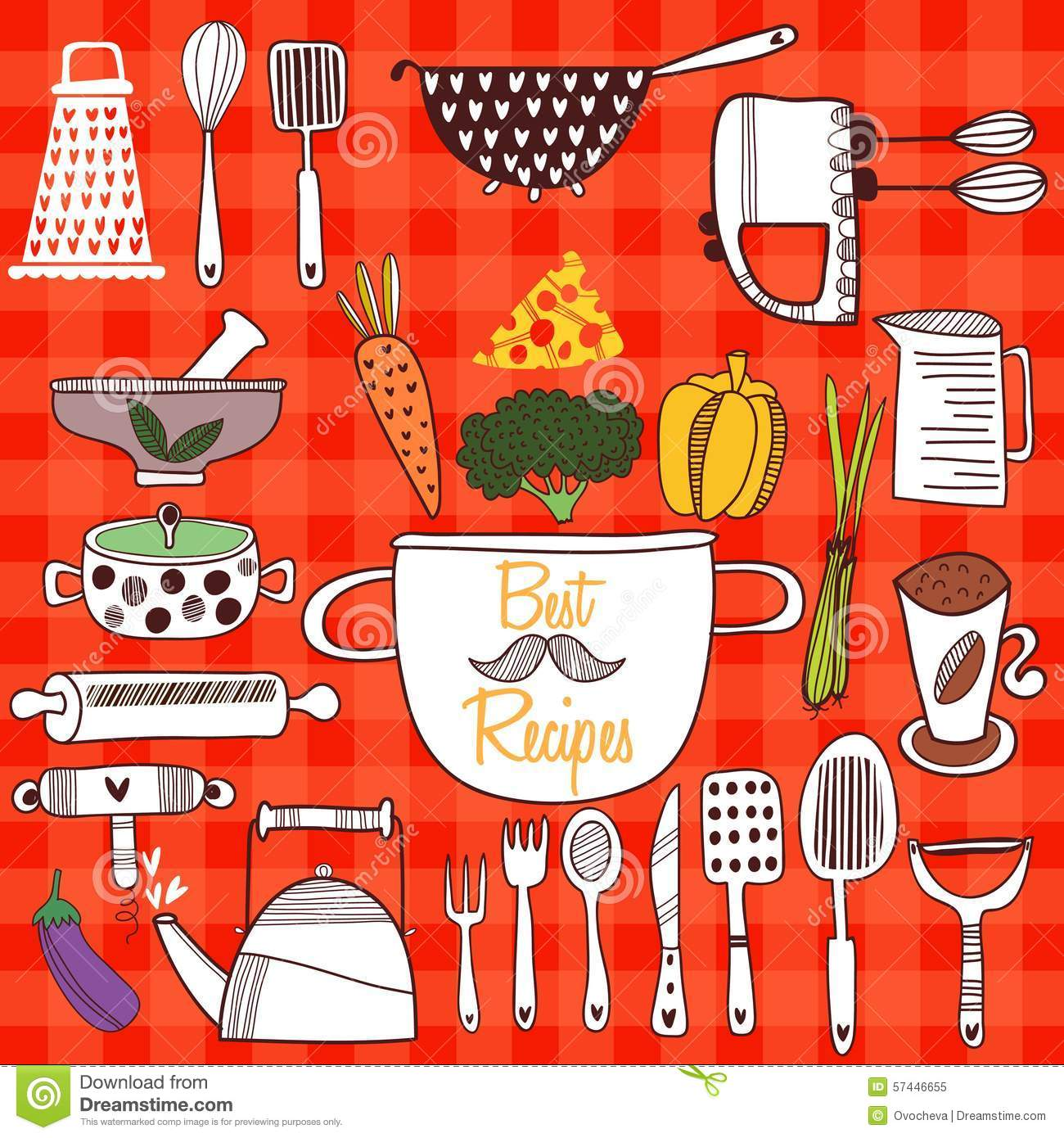 Retro Kitchen Illustration: Best Recipes-Set Of Kitchen Tools On Cconcept Background