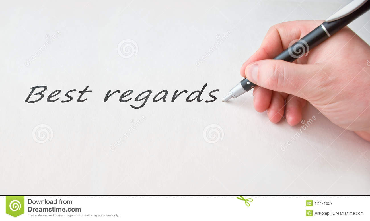 Best Regards With Hand Over Blank Paper Stock Image