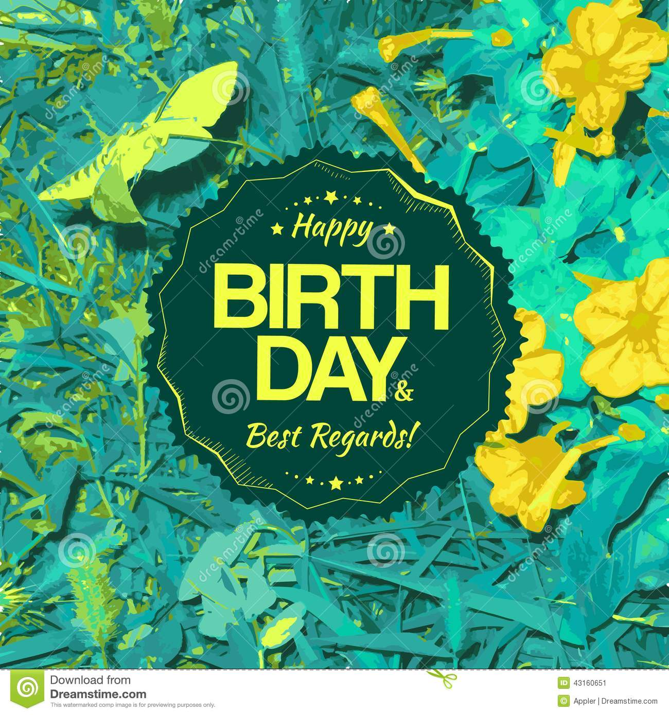 Best Regards Label For Birthday Card Vector Image 43160651 – Best Birthday Card Design