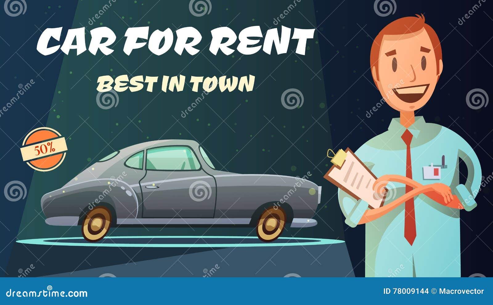 Best Rental Car Retro Cartoon Poster Stock Vector - Illustration of ...