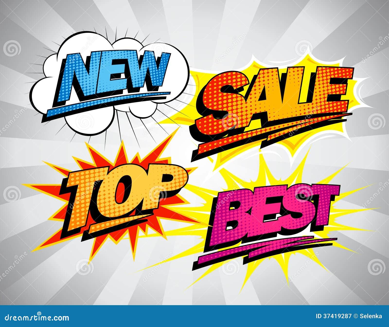 Best Sales: Best Sale Symbols In Pop-art Style. Stock Vector