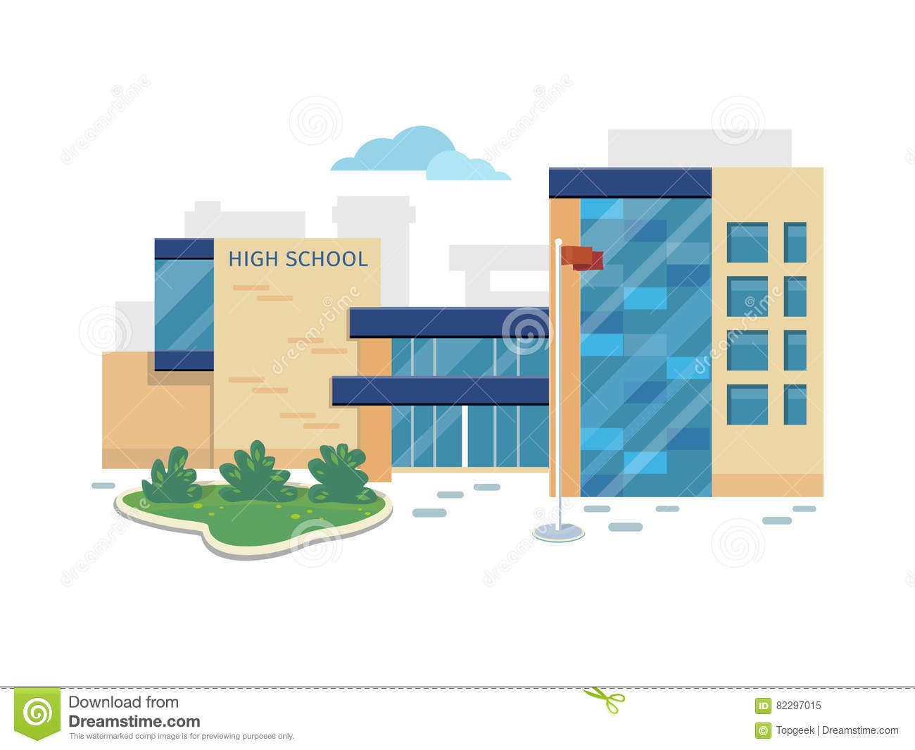 Best school building vector in flat style design cartoon for Best building design
