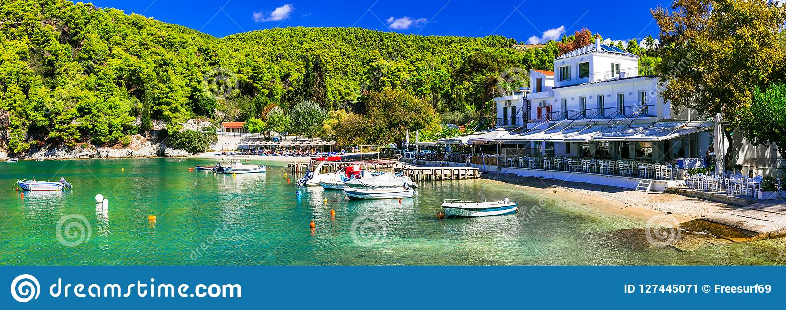 Picturesque fishing village Agnontas ,Skopelos island,Greece.