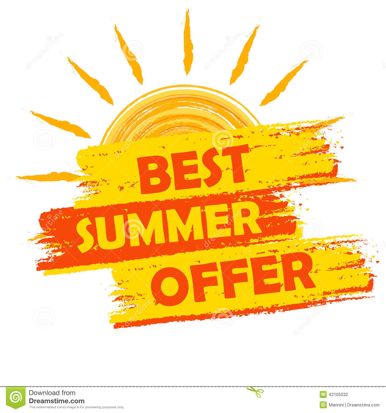 best summer offer with sun sign yellow and orange drawn label stock illustration   image 42105032