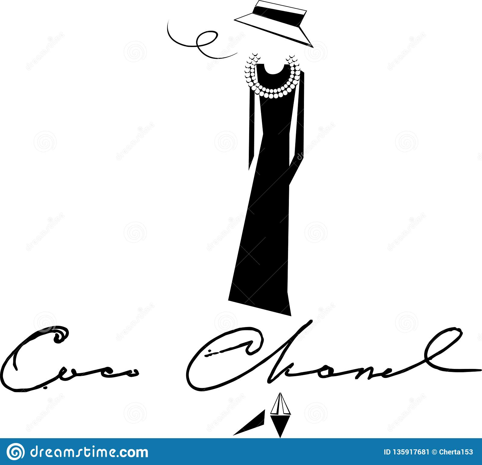 2ca0d307f66 Silhouette And Painting And Coco Chanel Black And White Tones Stock ...