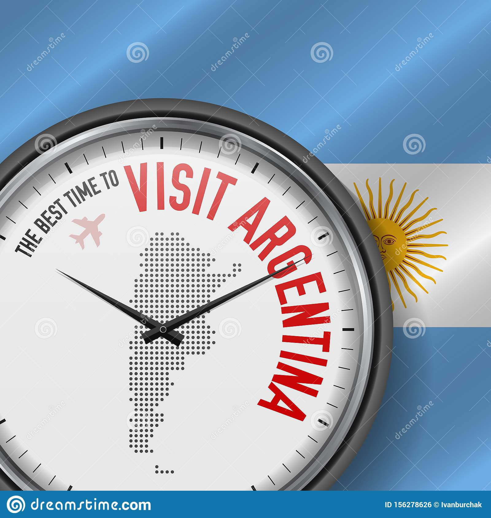The Best Time to Visit Argentina. Flight, Tour to Argentina. Vector Illustration