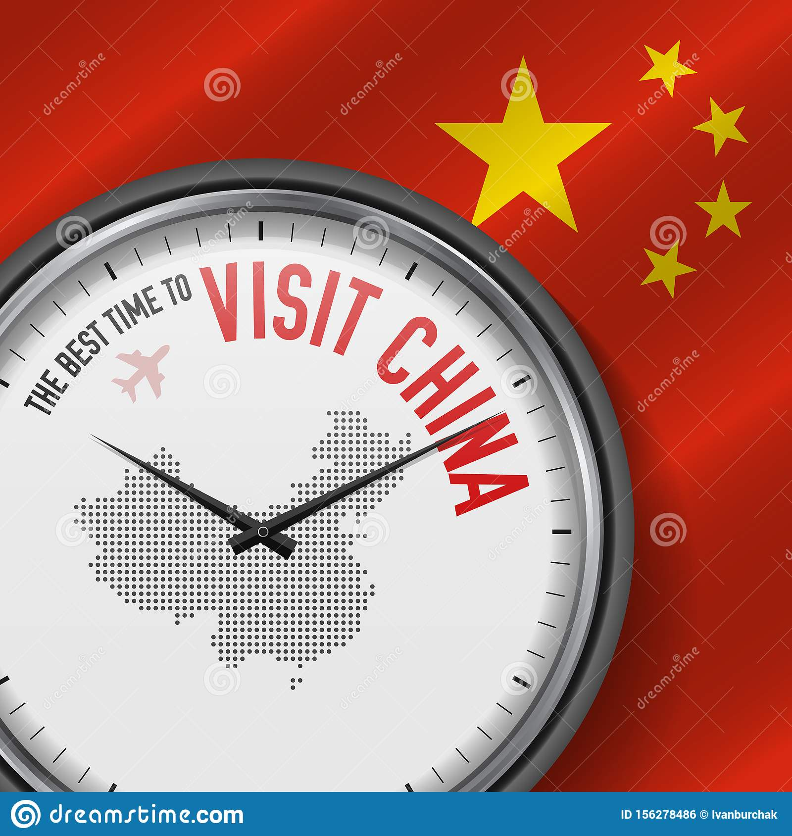 The Best Time to Visit China. Flight, Tour to China. Vector Illustration