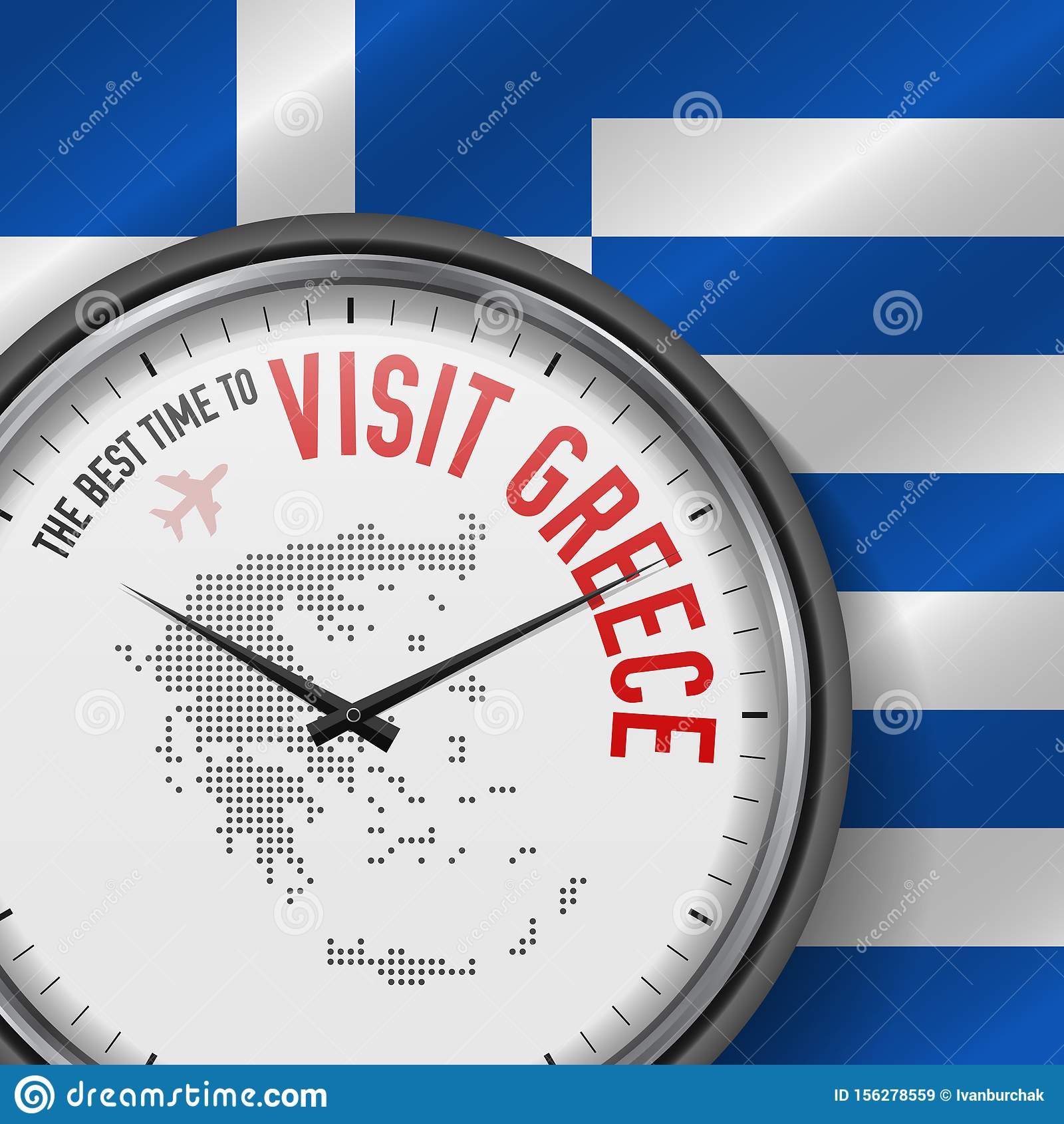 The Best Time to Visit Greece. Flight, Tour to Greece. Vector Illustration