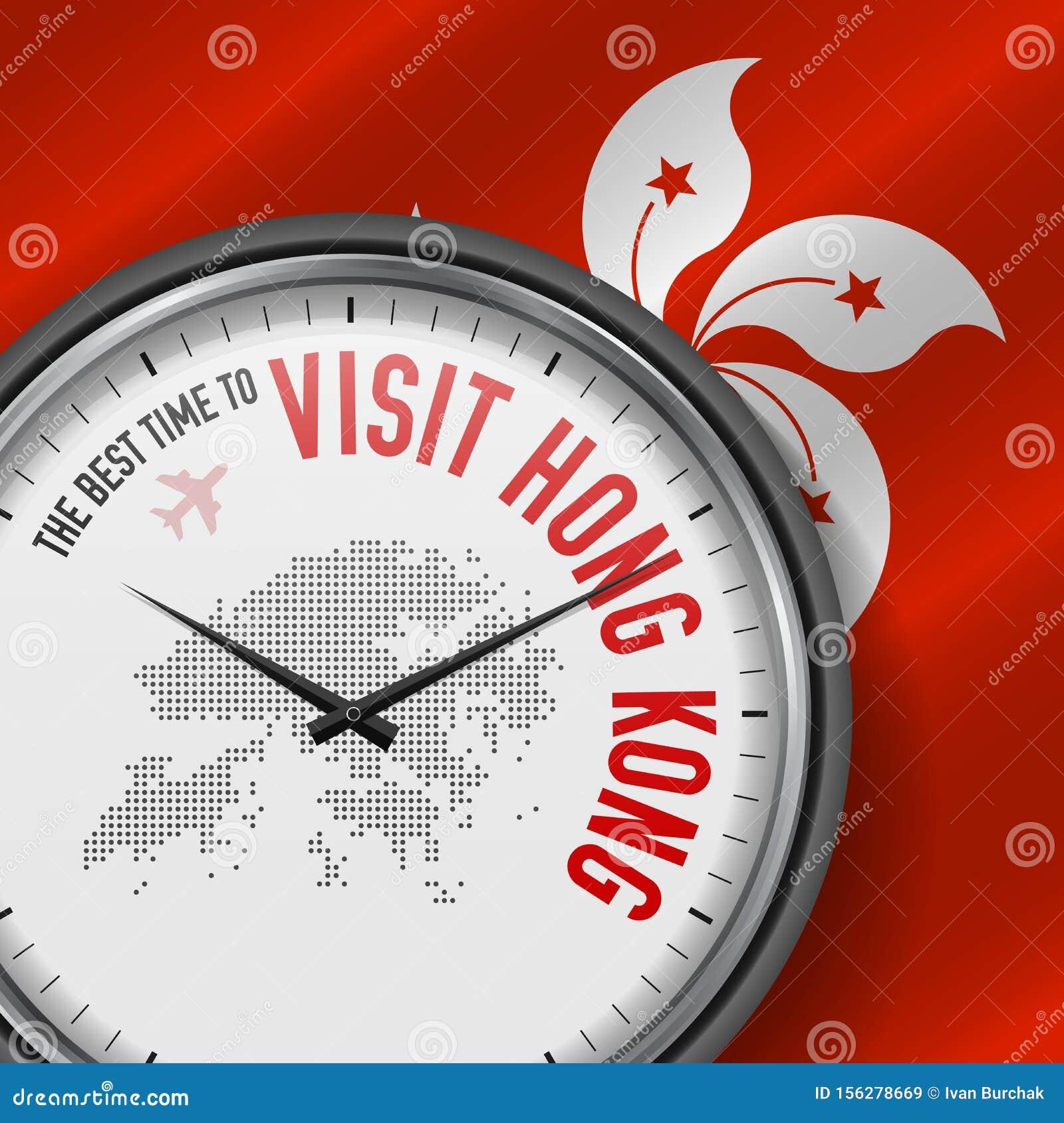 The Best Time to Visit Hong Kong. Flight, Tour to Hong Kong. Vector Illustration