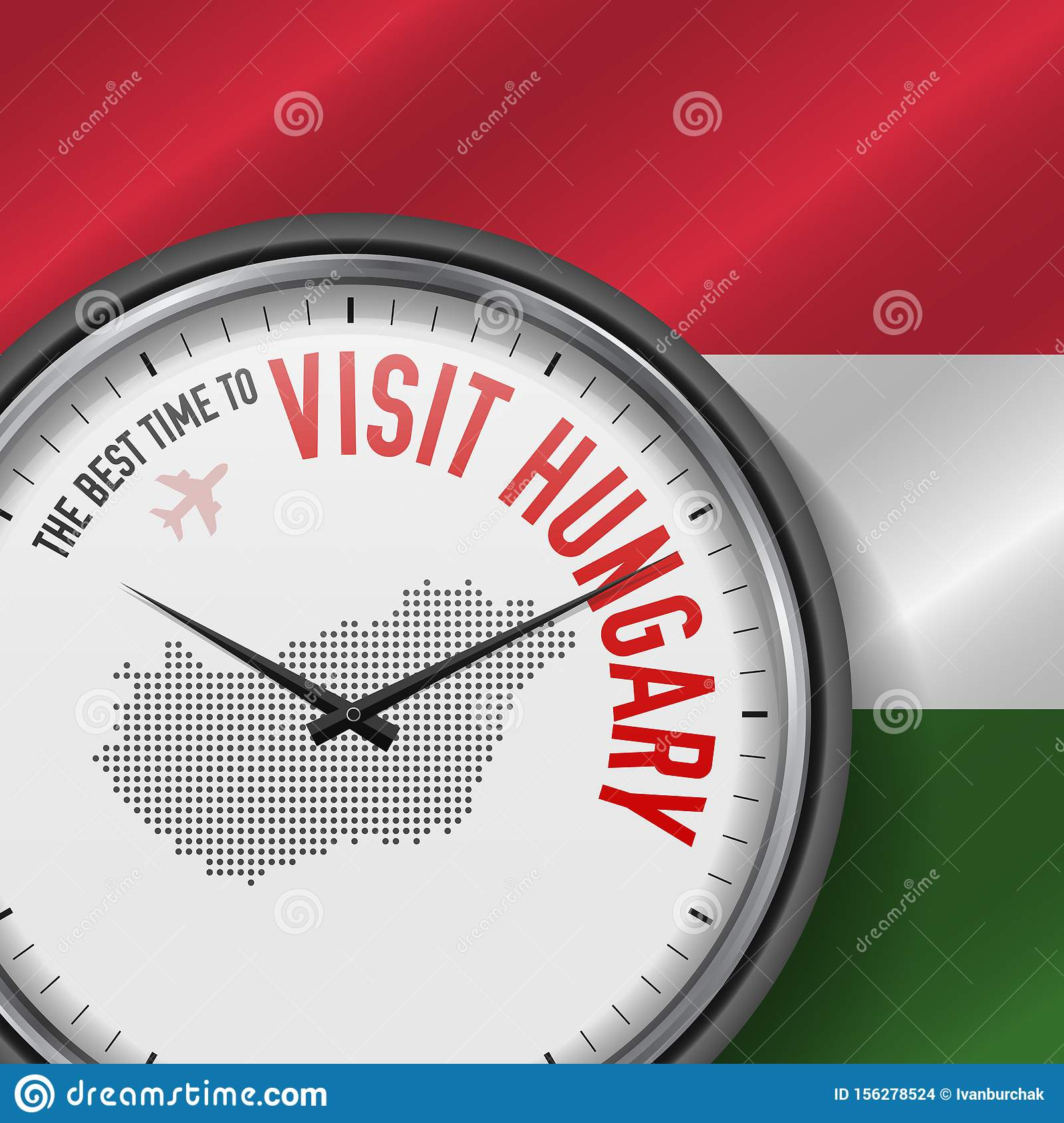 The Best Time to Visit Hungary. Flight, Tour to Hungary. Vector Illustration