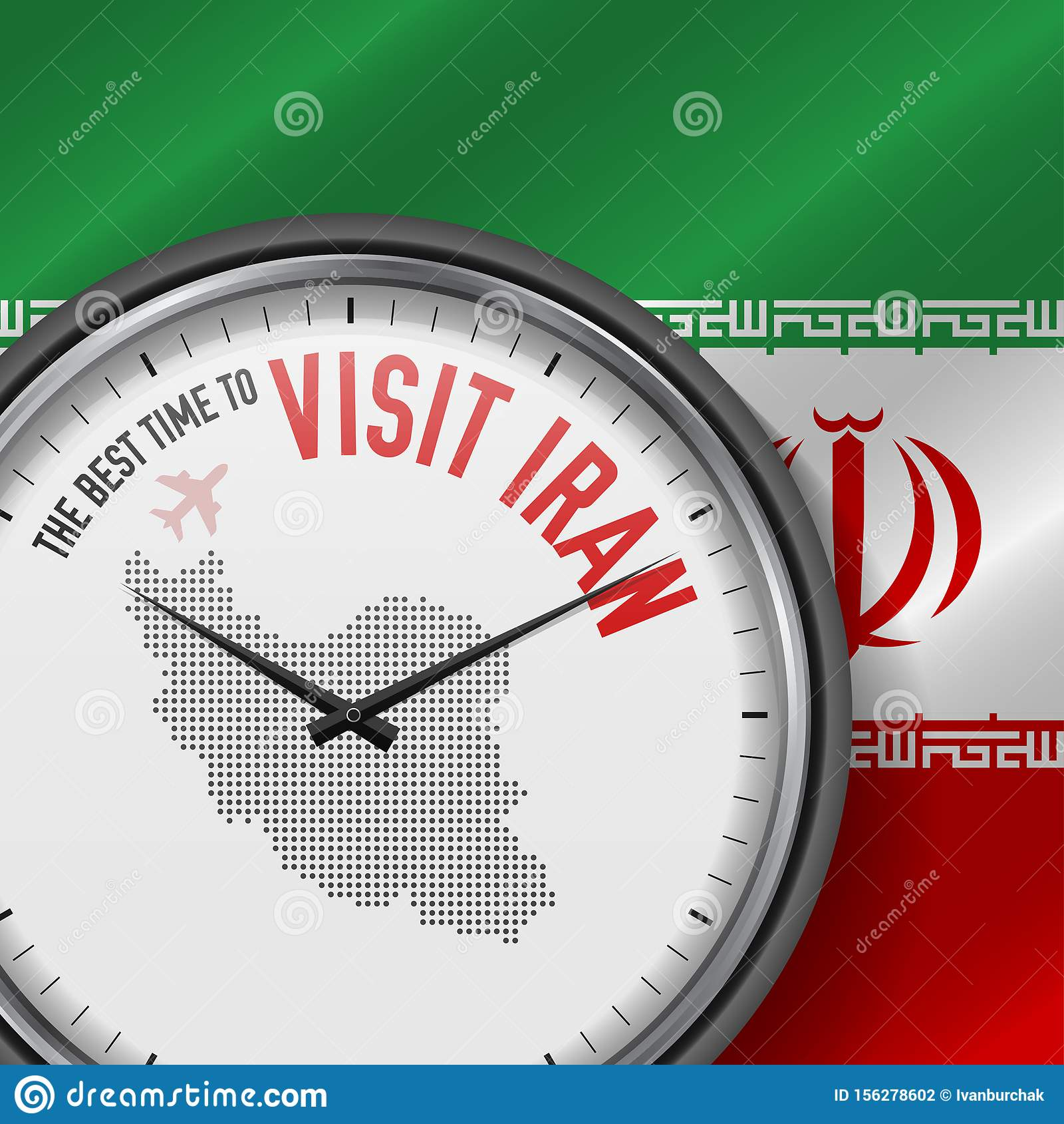 The Best Time to Visit Iran. Flight, Tour to Iran. Vector Illustration