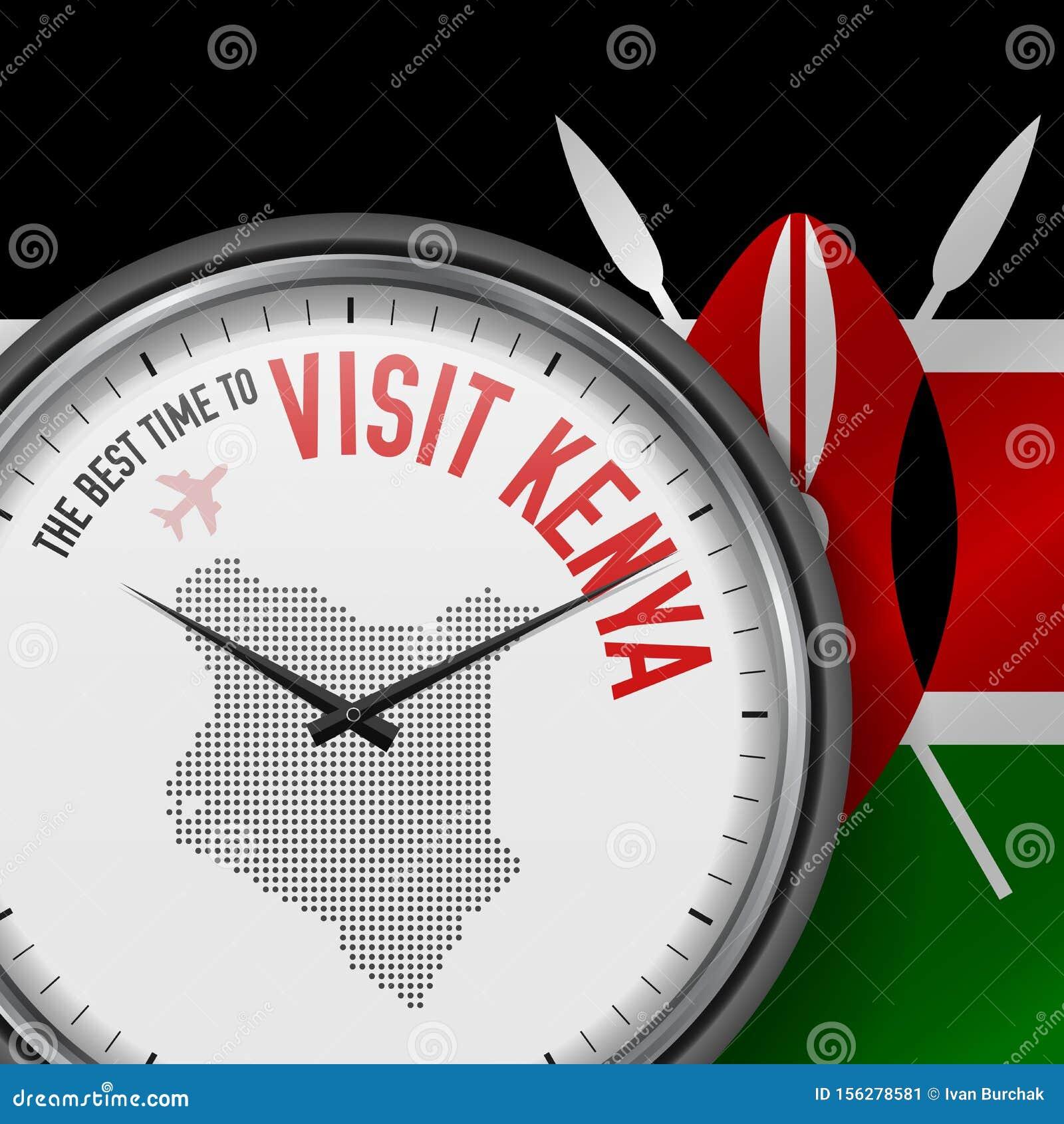The Best Time to Visit Kenya. Flight, Tour to Kenya. Vector Illustration