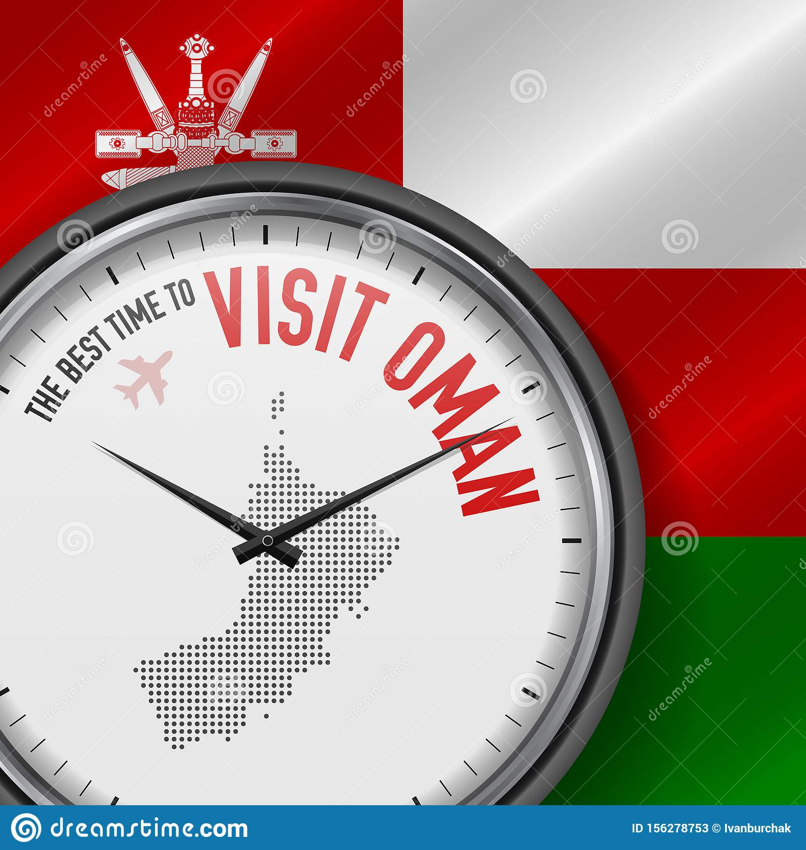 The Best Time to Visit Oman. Flight, Tour to Oman. Vector Illustration