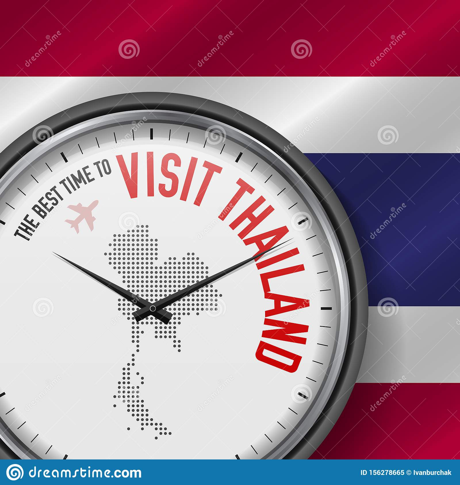 The Best Time to Visit Thailand. Flight, Tour to Thailand. Vector Illustration
