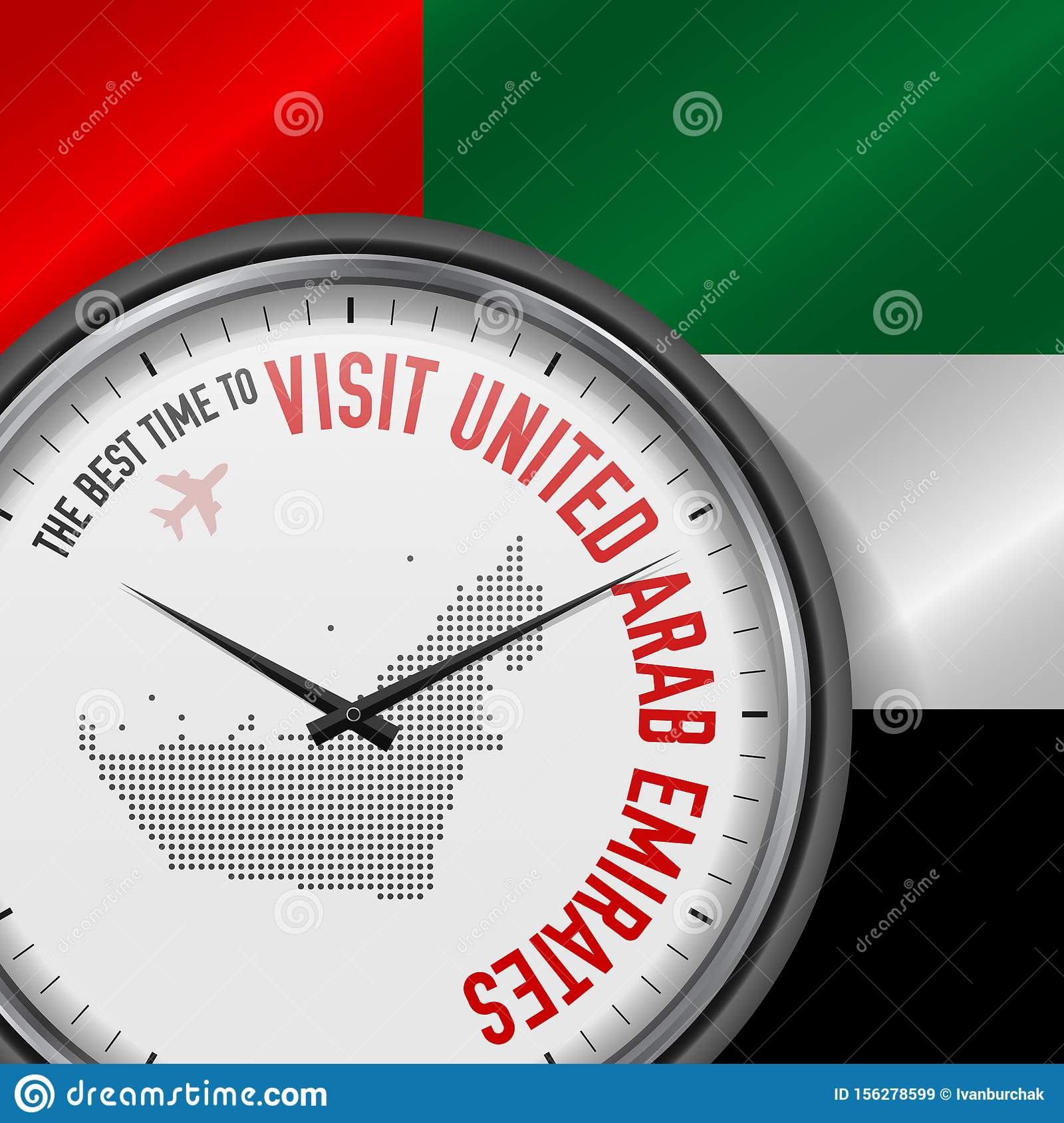 The Best Time to Visit United Arab Emirates. Flight, Tour to United Arab Emirates. Vector Illustration
