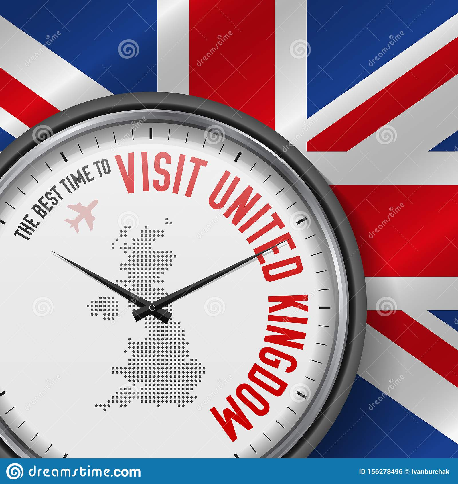 The Best Time to Visit United Kingdom. Flight, Tour to Great Britain. Vector Illustration