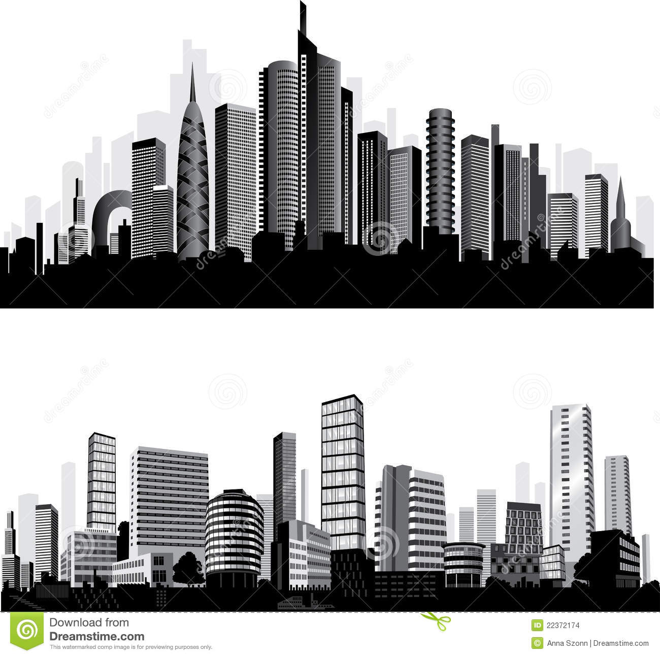 The Best Vector City Silhouettes. Set. Stock Images - Image: 22372174