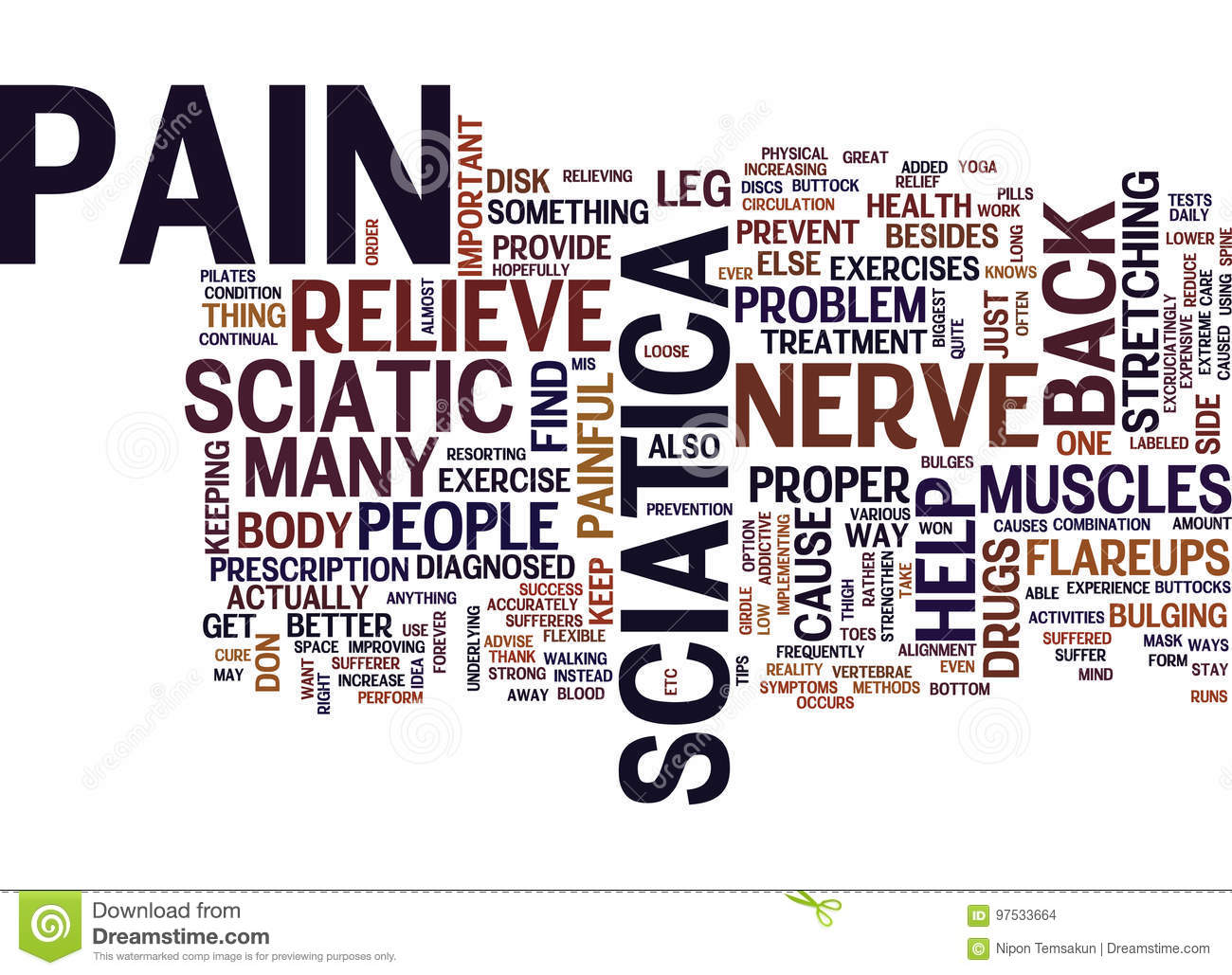 Best Way To Relieve Sciatic Nerve Pain Word Cloud Concept