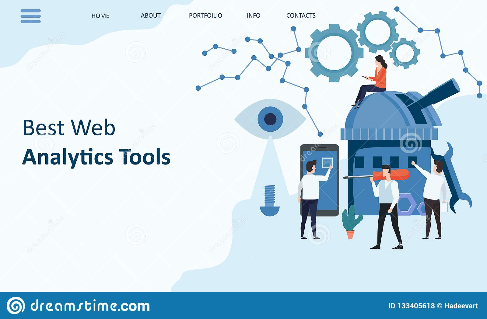 Best Web Analytics tools. Mockup landing page website design. Modern trend flat design concept of web page design for