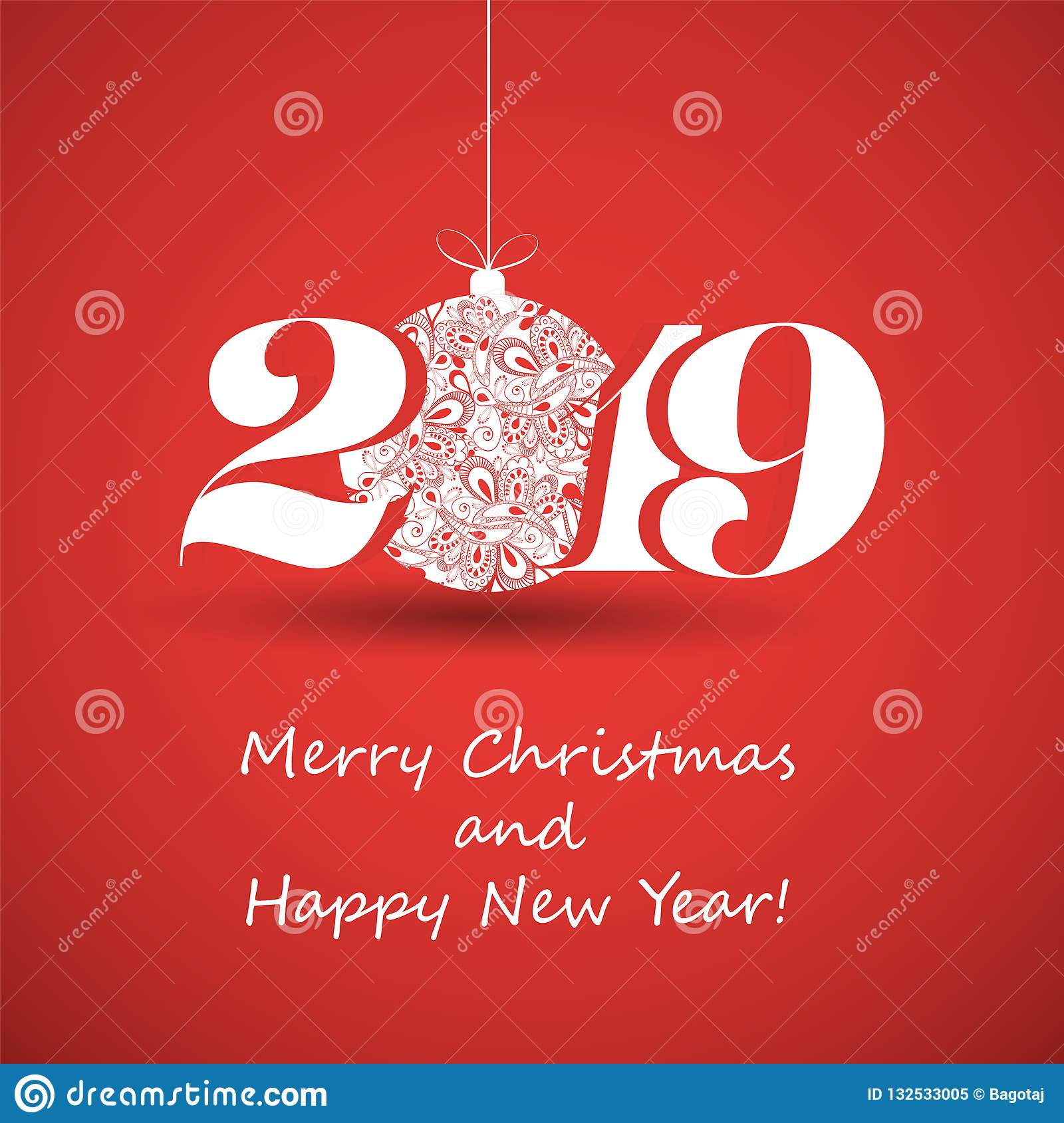 Merry Christmas And Happy New Year Greeting Card, Creative ...