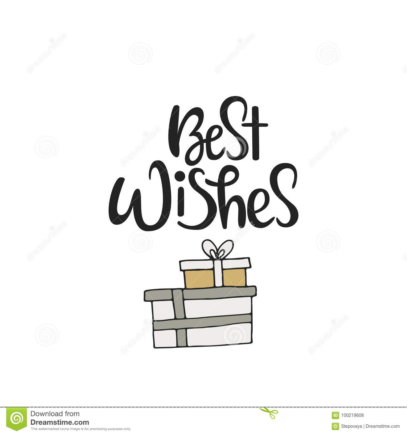 Best Wishes Cute Hand Drawn Christmas Card With Lettering And