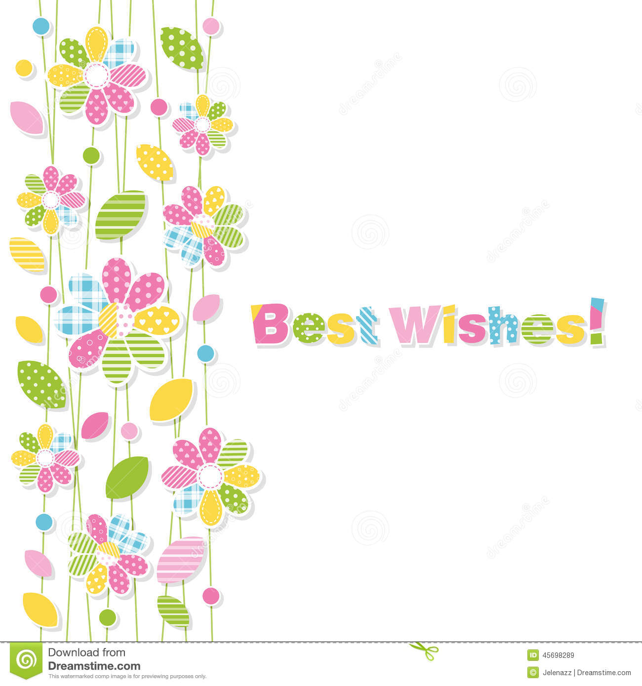 best wishes flowery greeting card stock vector