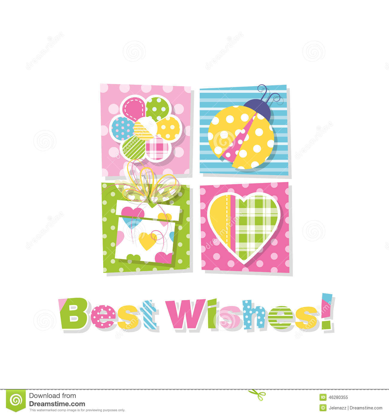 Best Wishes Greeting Card Stock Vector Illustration Of Anniversary