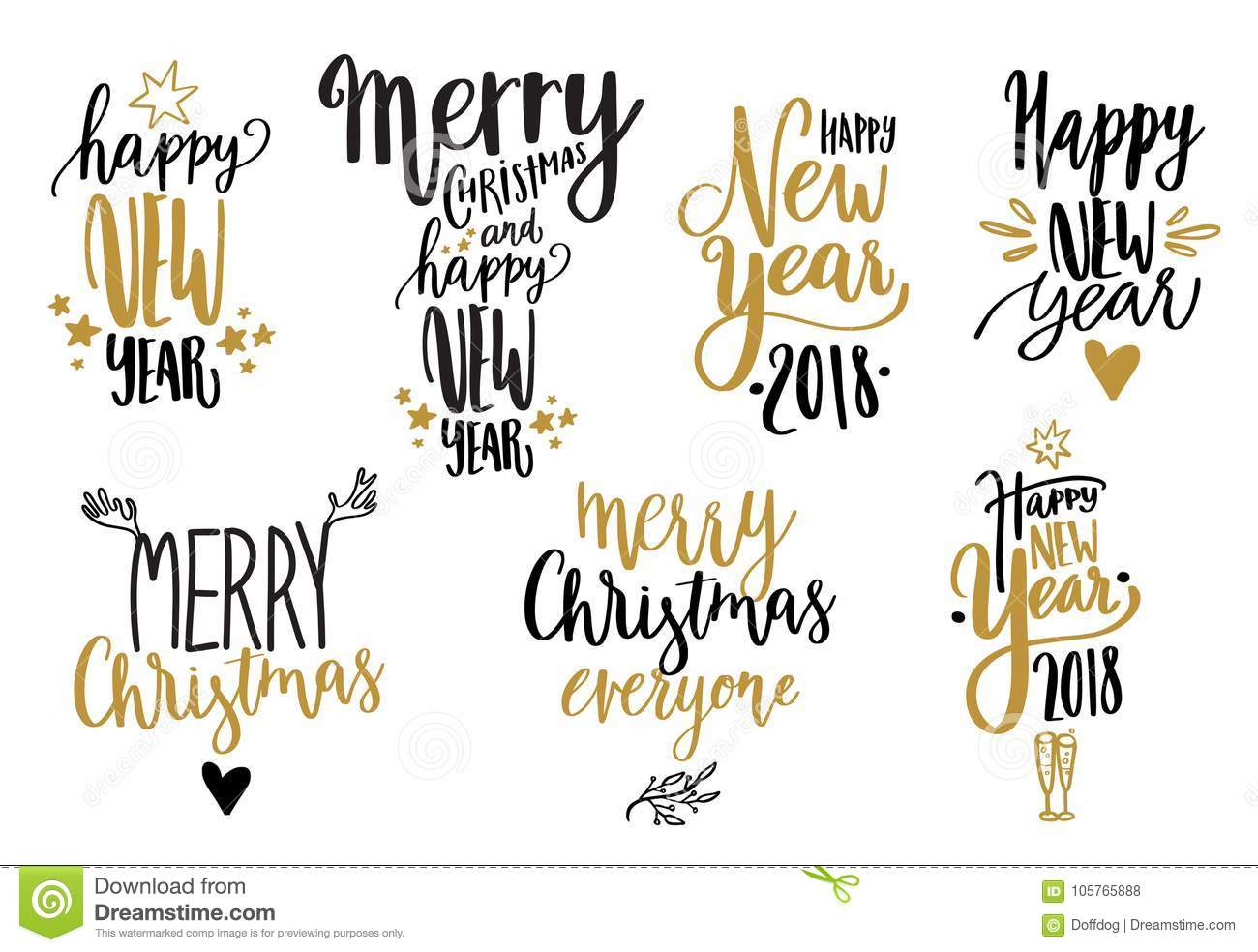 Happy New Year Calligraphy Set Stock Vector - Illustration of ...