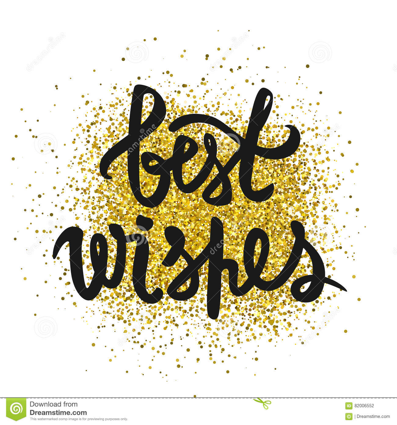 best wishes inscription glitter confetti stock illustration