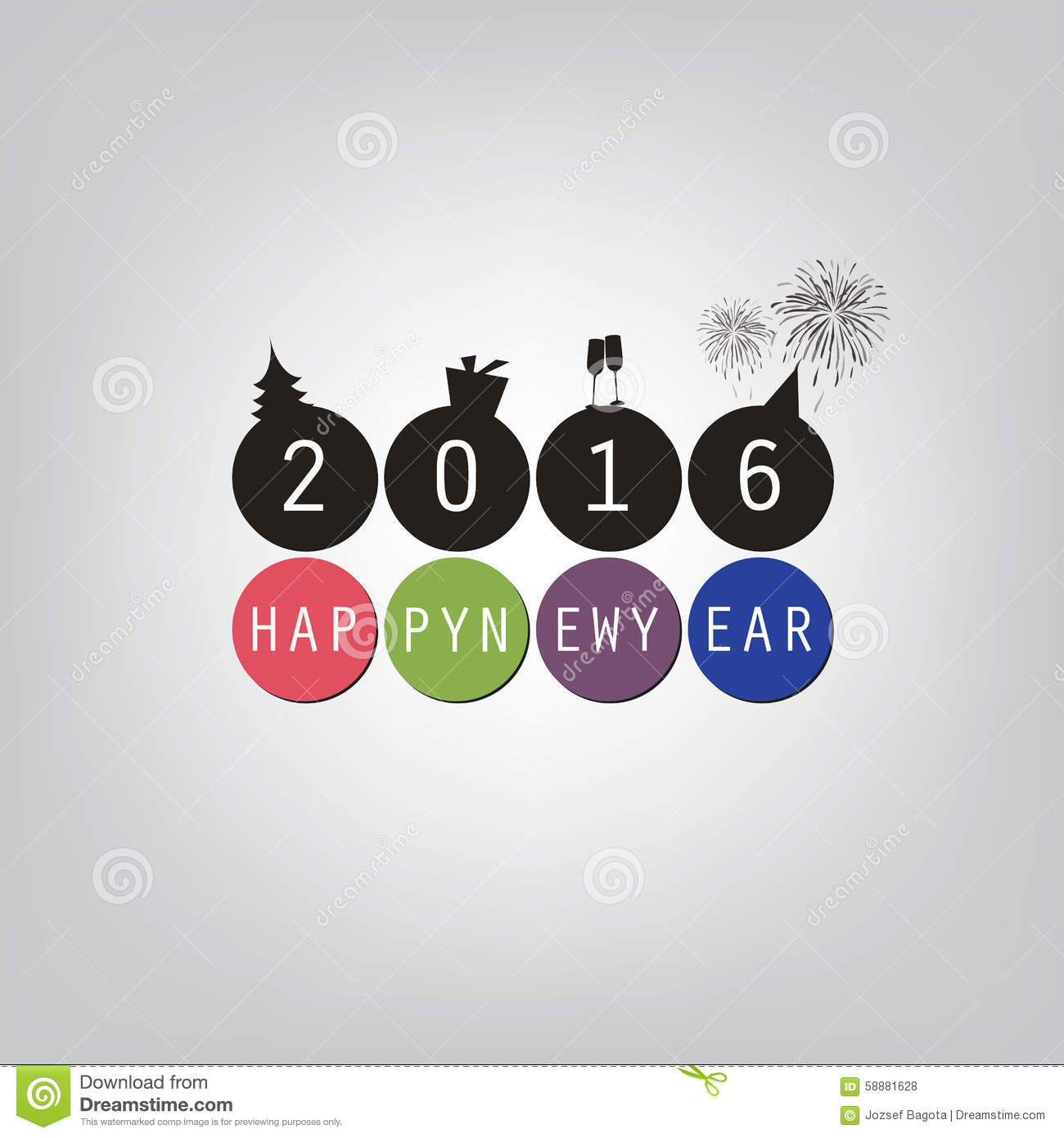 best wishes modern simple minimal happy new year card or cover background template 2016