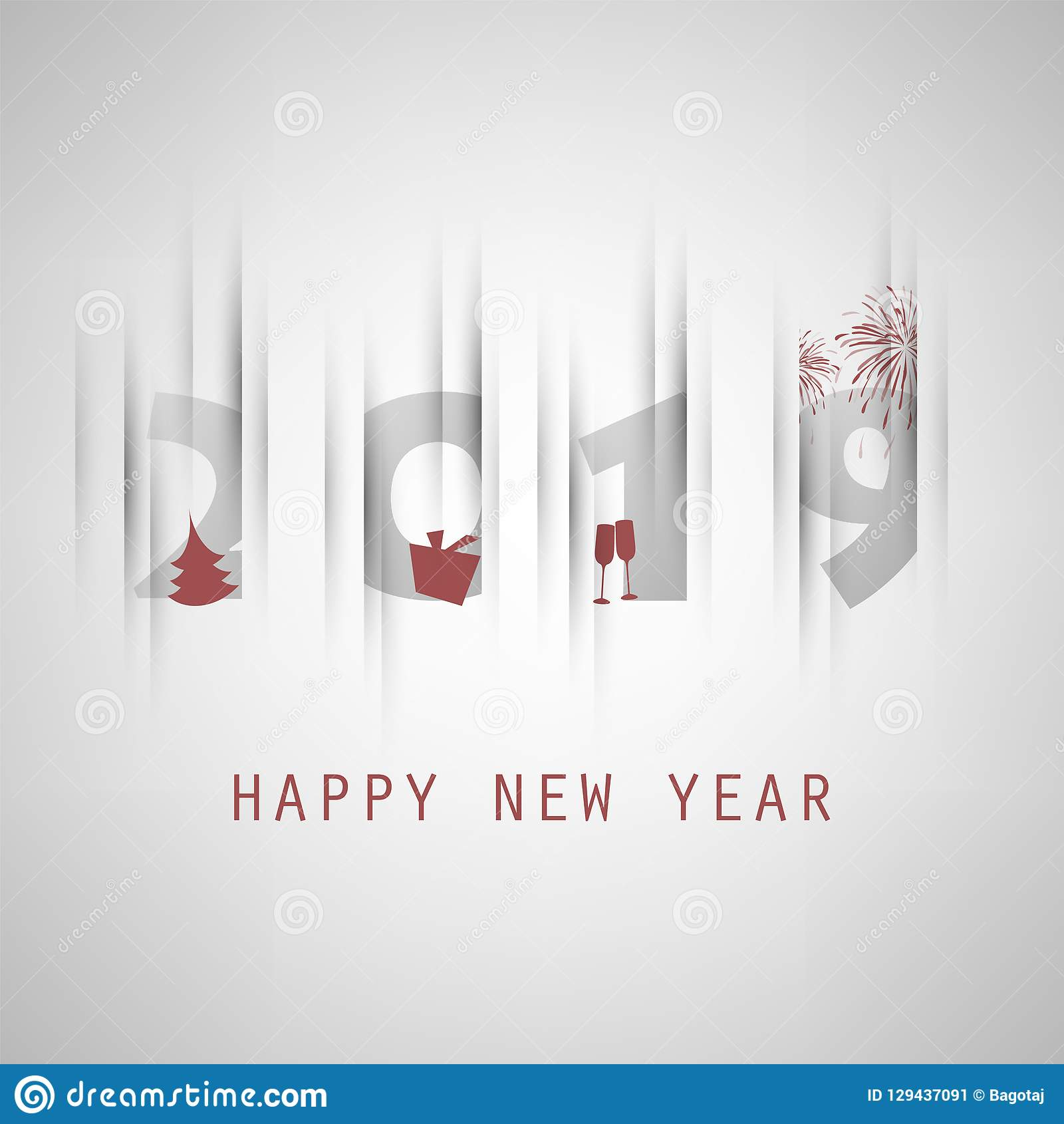 best wishes simple grey and red new year card cover or background design template