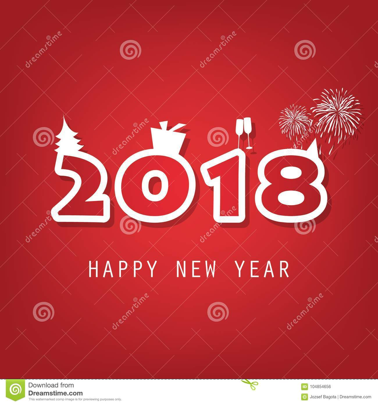 best wishes simple red and white new year card cover or background design template