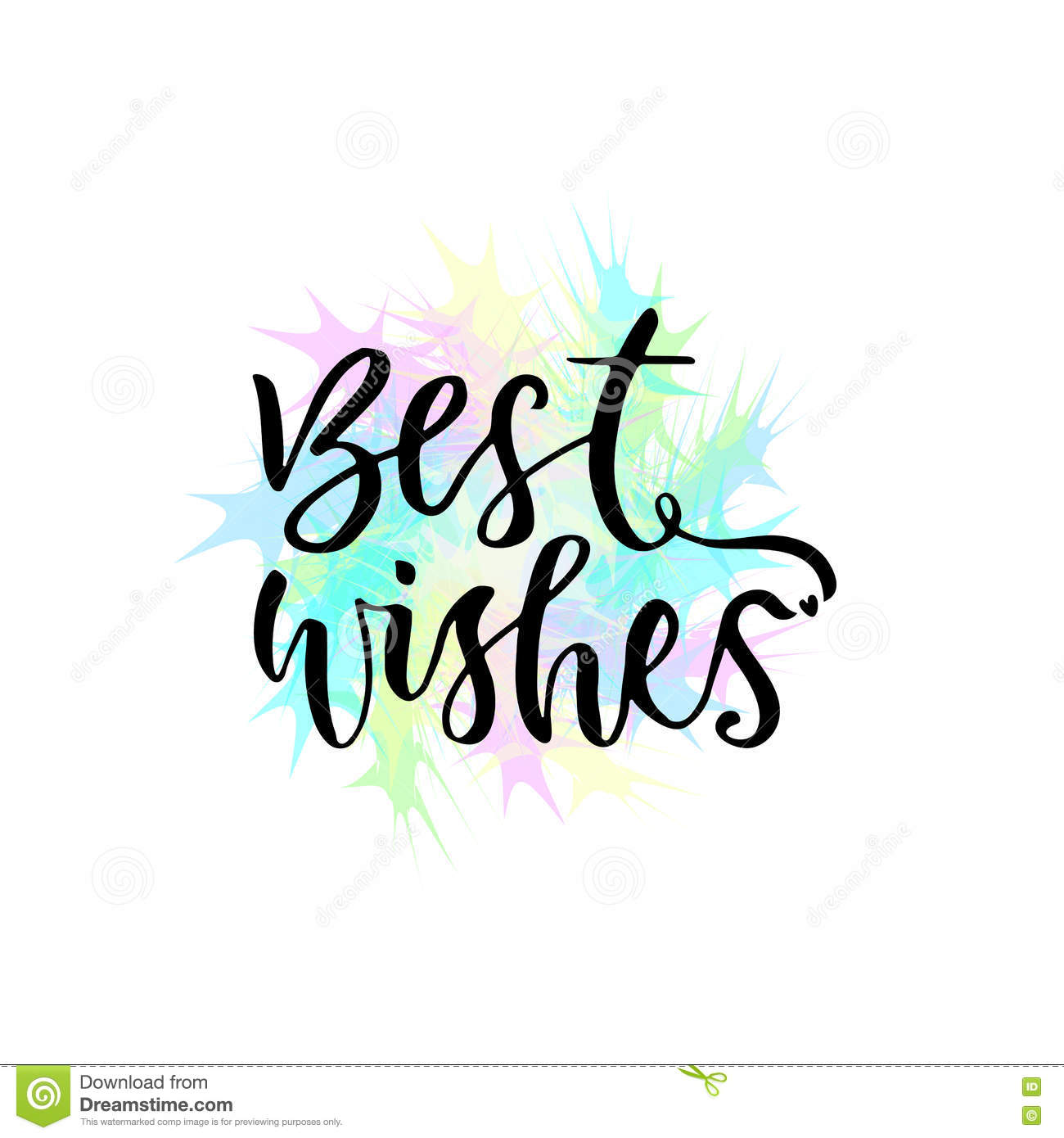 best wishes vector greeting card with hand lettering modern vector