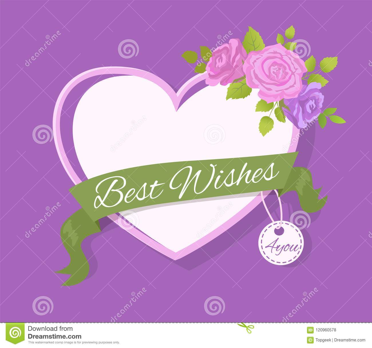 Best wishes 4 you greeting card design with heart stock vector best wishes 4 you greeting card design with heart m4hsunfo