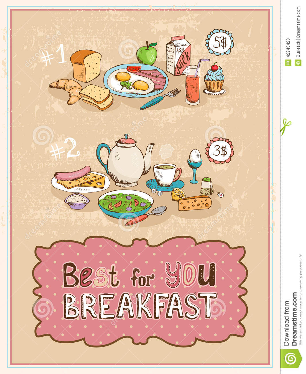 ... orange juice croissant eggs bacon cupcake and apple and the other with