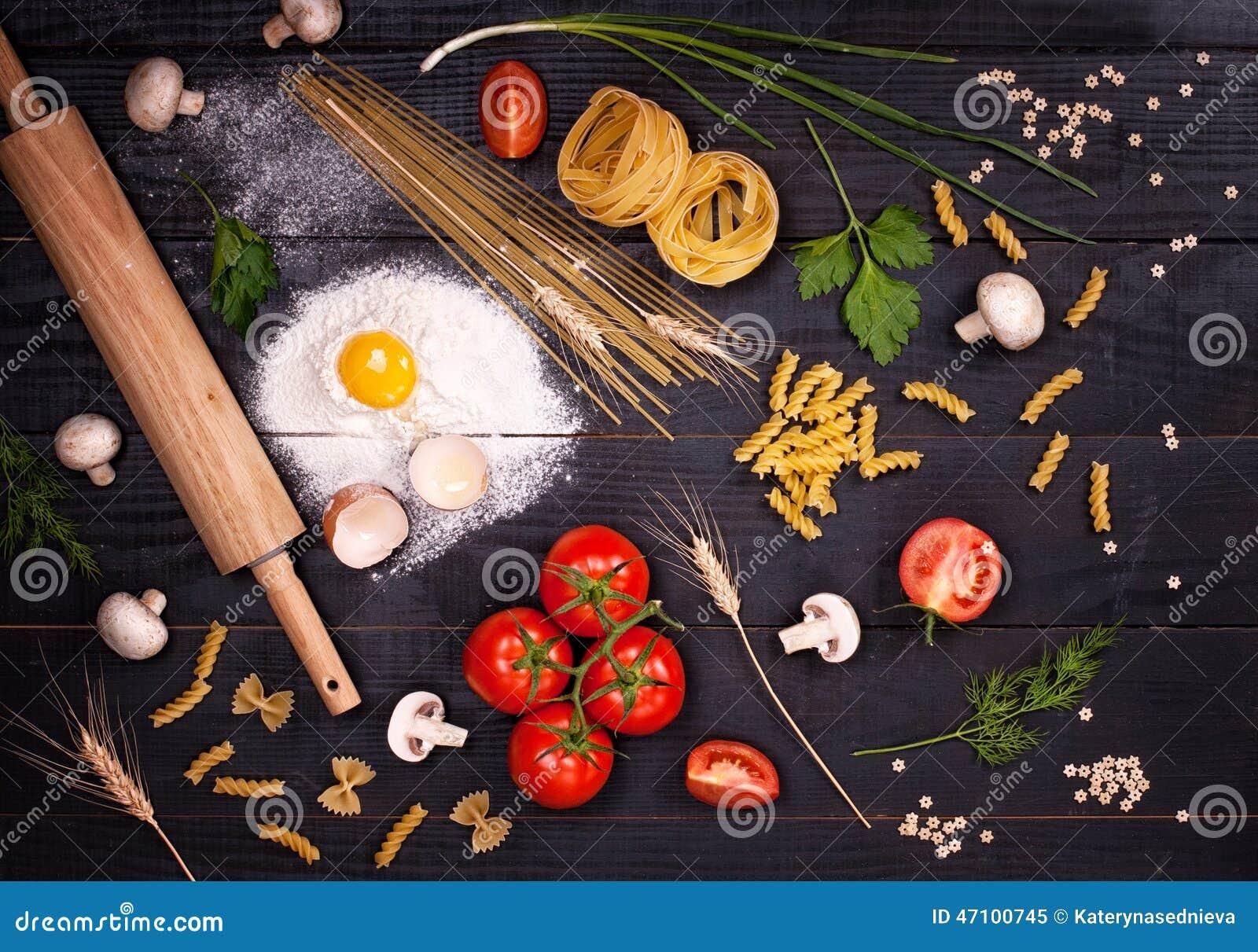 Bestandteile für italienischen Teller