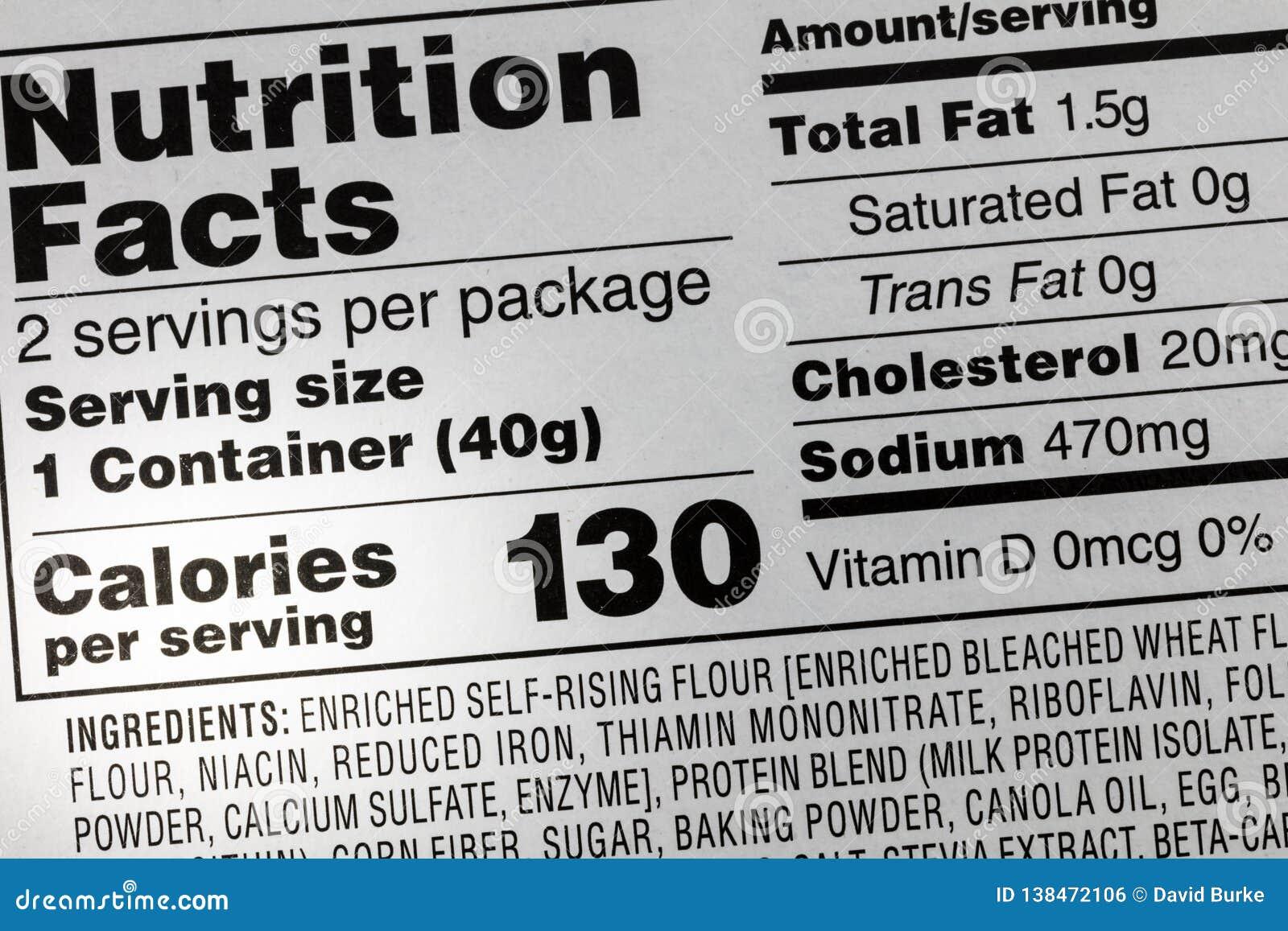 Bestandteilkaloriennahrungsmittelnatriumaufkleber