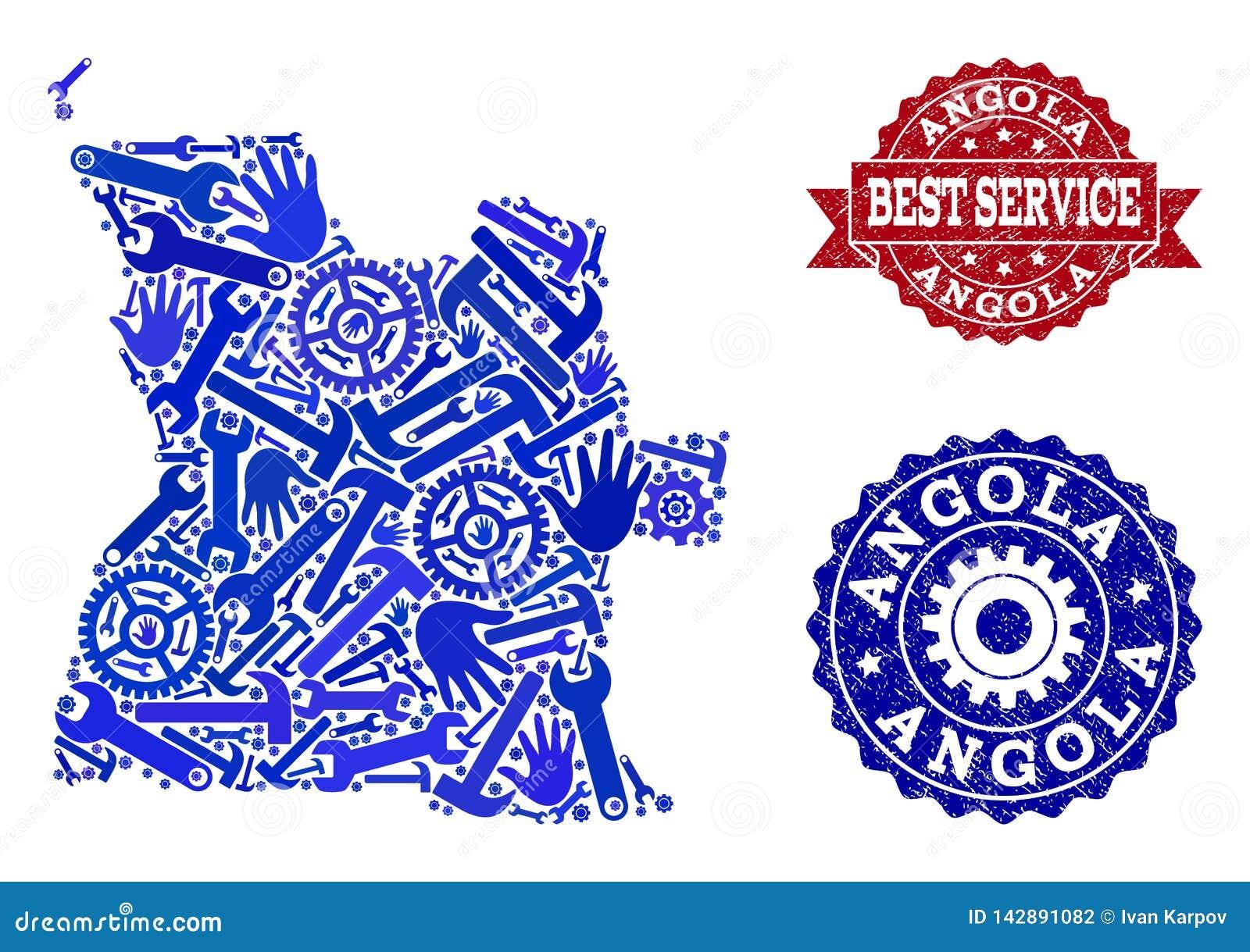 Beste de Dienstsamenstelling van Kaart van de Verbindingen van Angola en Grunge-