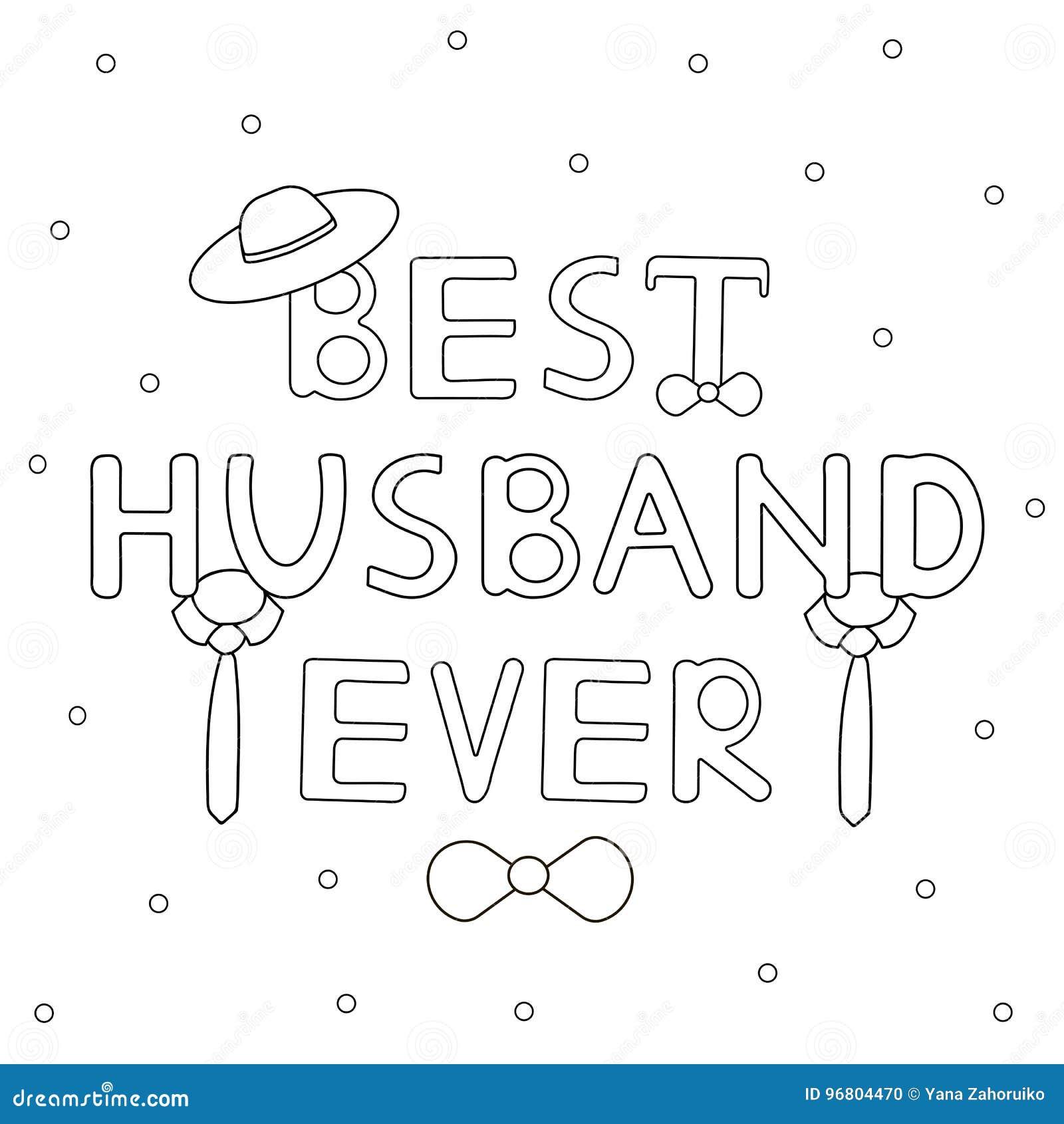 Beste echtgenoot ooit - hand getrokken tekst met band en hoed