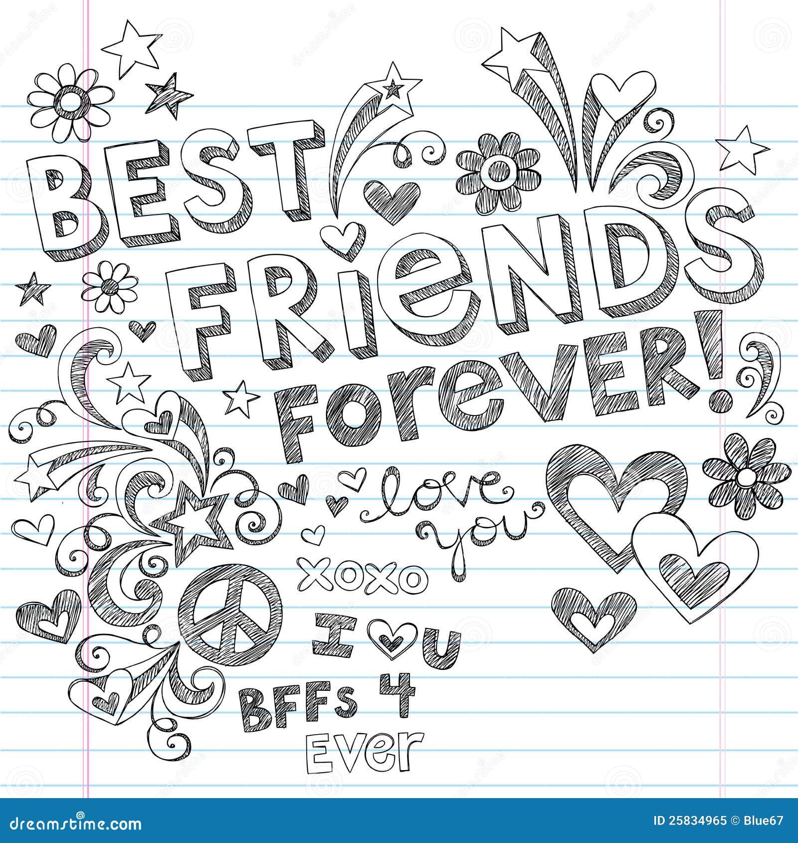Beste Freund-für immer flüchtige Notizbuch-Gekritzel