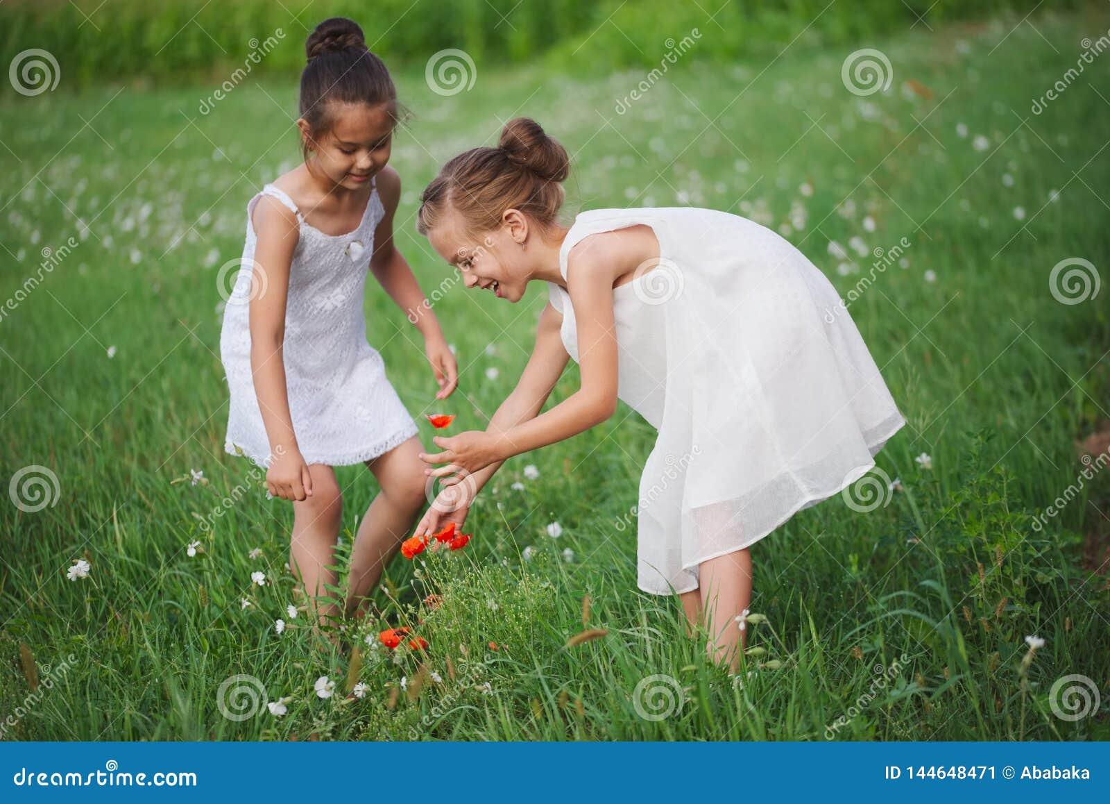 Beste gelukkige vrienden die in de zomerpark spelen
